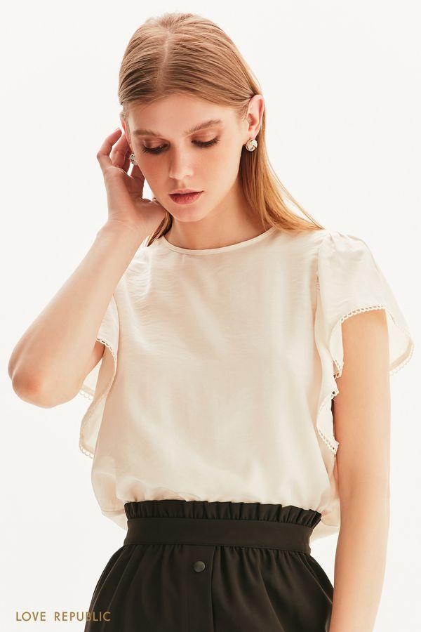 Романтичная блузка с пышными рукавами 1256084381-50