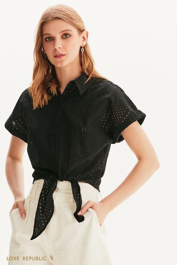 Укороченная рубашка из кружева ришелье 1256085382-50