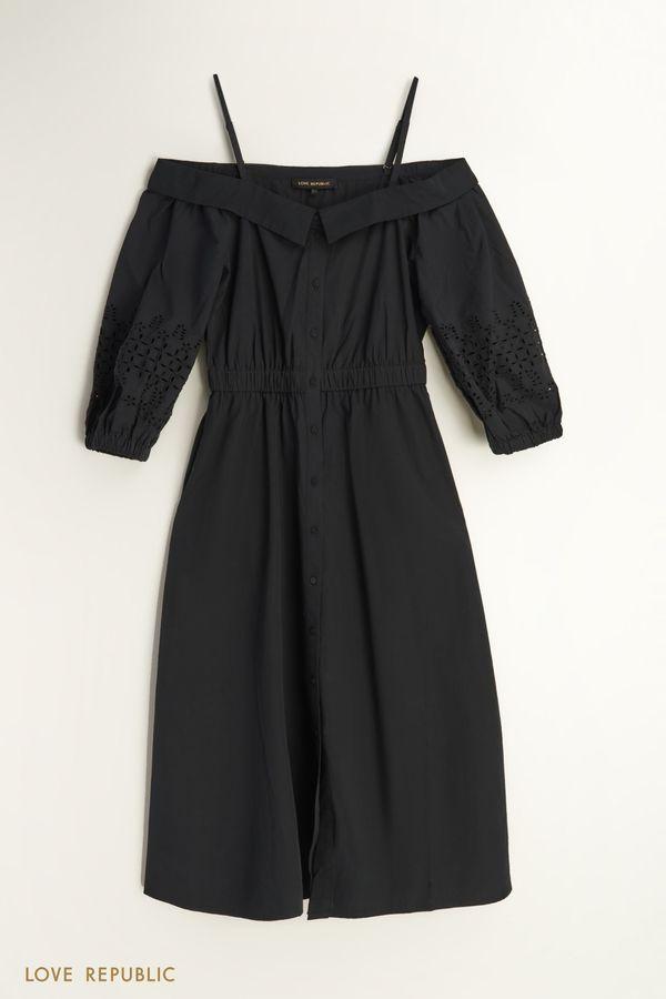 Платье миди из хлопка 1256086566-1