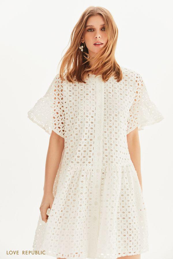 Платье-парашют из кружева ришелье 1256087567-50