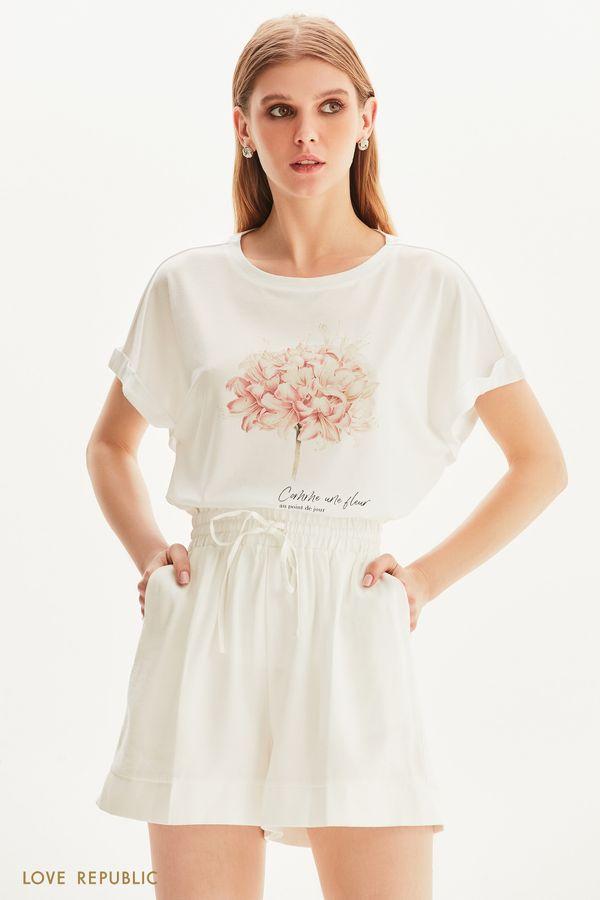 Oversize футболка с цветочным принтом 1256136374-1