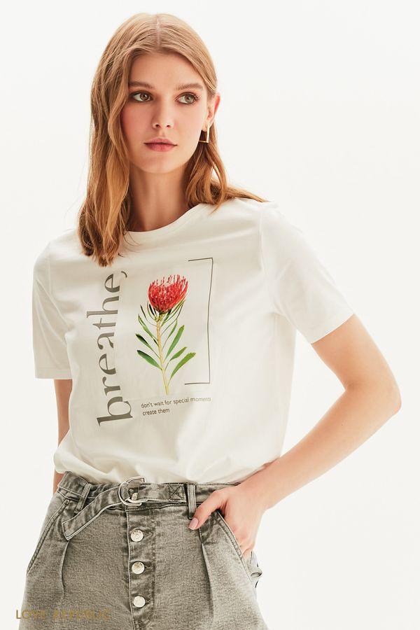 Белая футболка цветочным принтом 1256140385-1