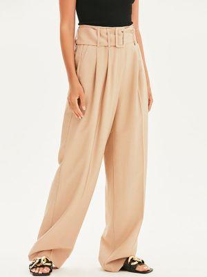 Широкие брюки-палаццо с поясом