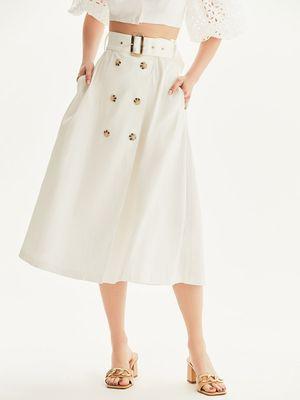 Двубортная юбка из плотного хлопка