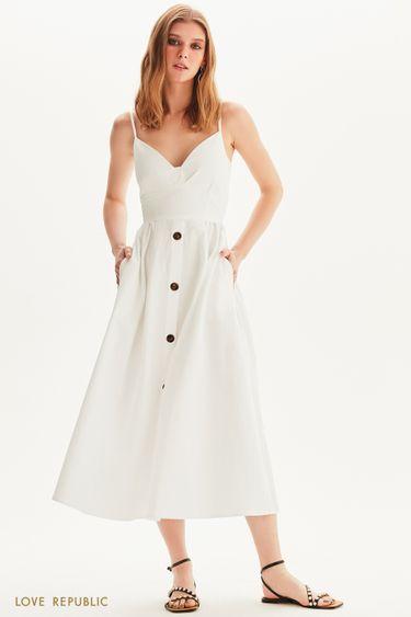 Платье миди с пуговицами и фигурным лифом 1256208523