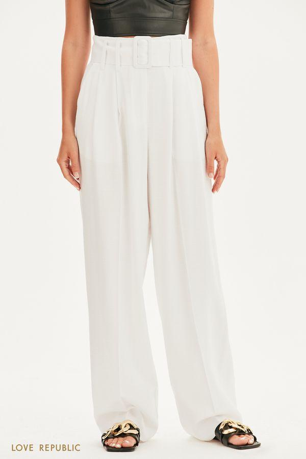 Широкие брюки-палаццо с поясом 1256206706-21