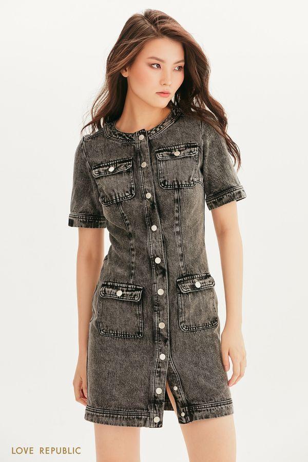 Платье из денима с накладными карманами 1256407569-107