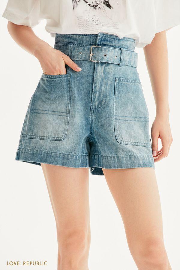Джинсовые шорты с фигурной кокеткой и поясом 1256416721-102