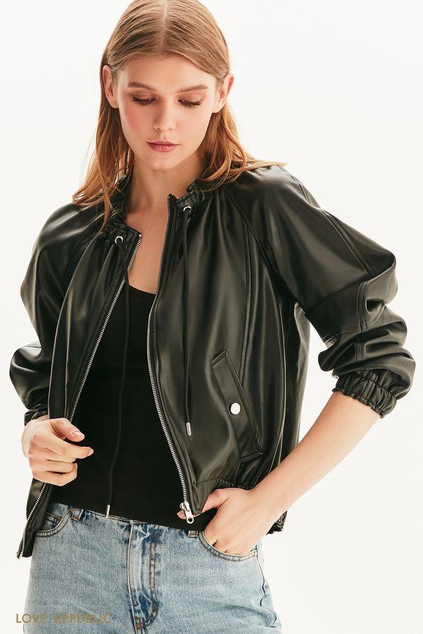 Объёмная куртка из гладкой экокожи 1256501101-50