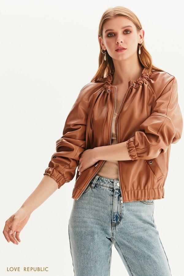 Объёмная куртка из гладкой экокожи 1256502101-62