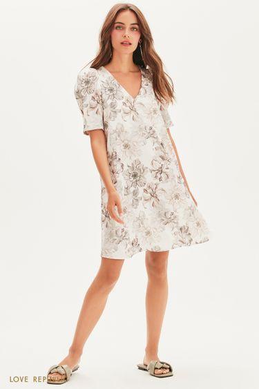 Платье мини с цветочным принтом 1357019533