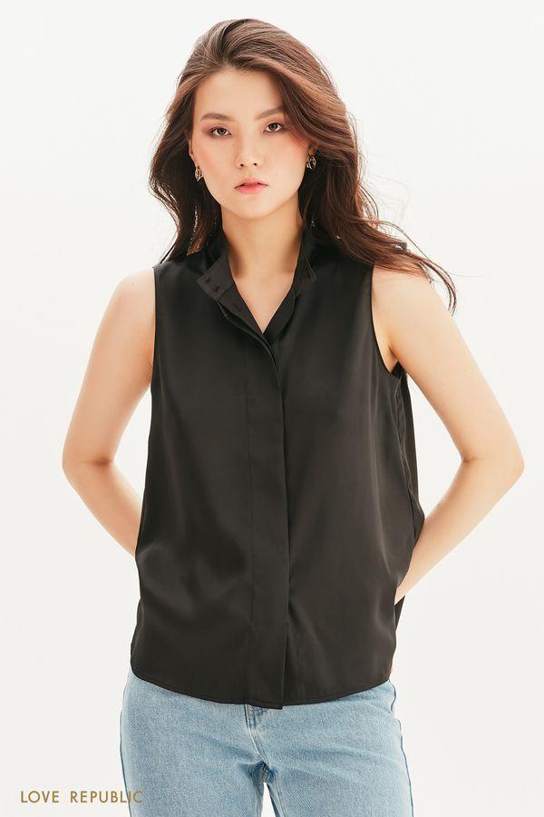 Атласная блузка без рукавов 1357006317-50