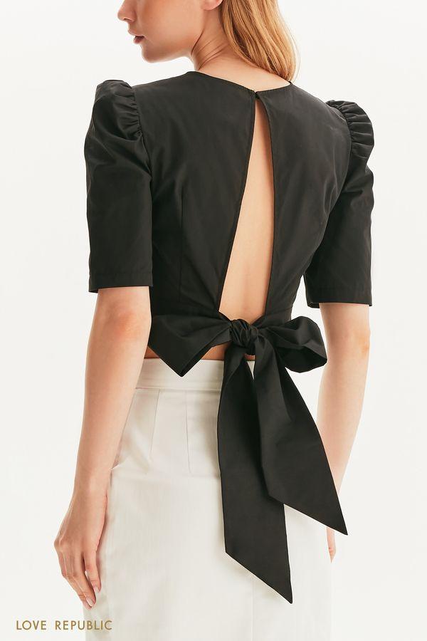 Хлопковая блузка с открытой спиной 1357009315-1