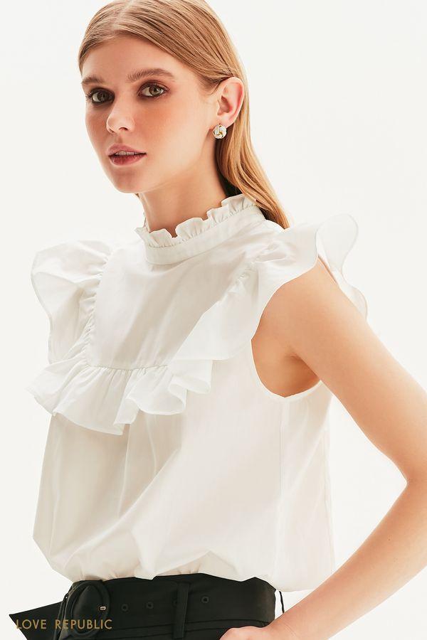 Хлопковая блузка с оборками 1357009322-50