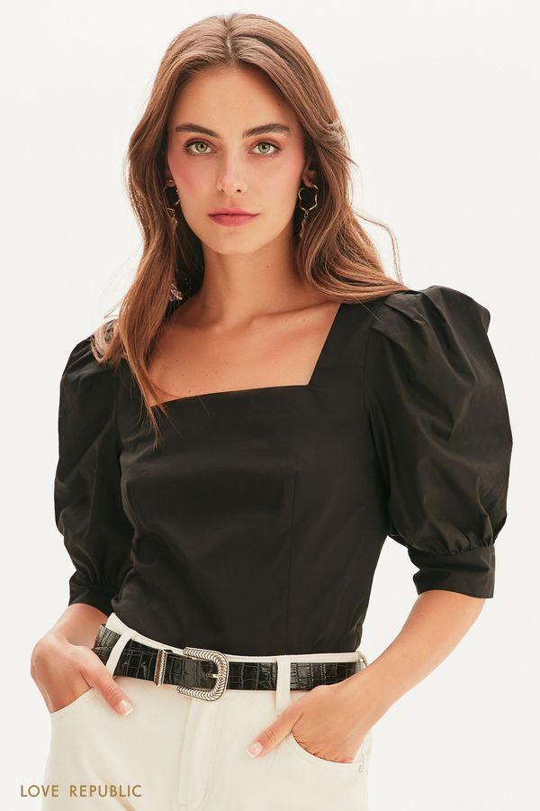 Хлопковая блузка с рукавами-фонариками 1357010323-50