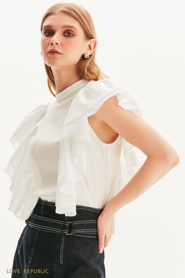 Стильная блузка с объемными оборками 1357020327-1