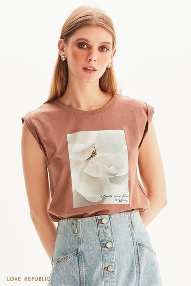 Oversize футболка без рукавов с цветочным принтом 1357108320