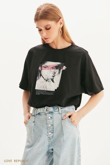 Oversize футболка с романтичным принтом 1357109321