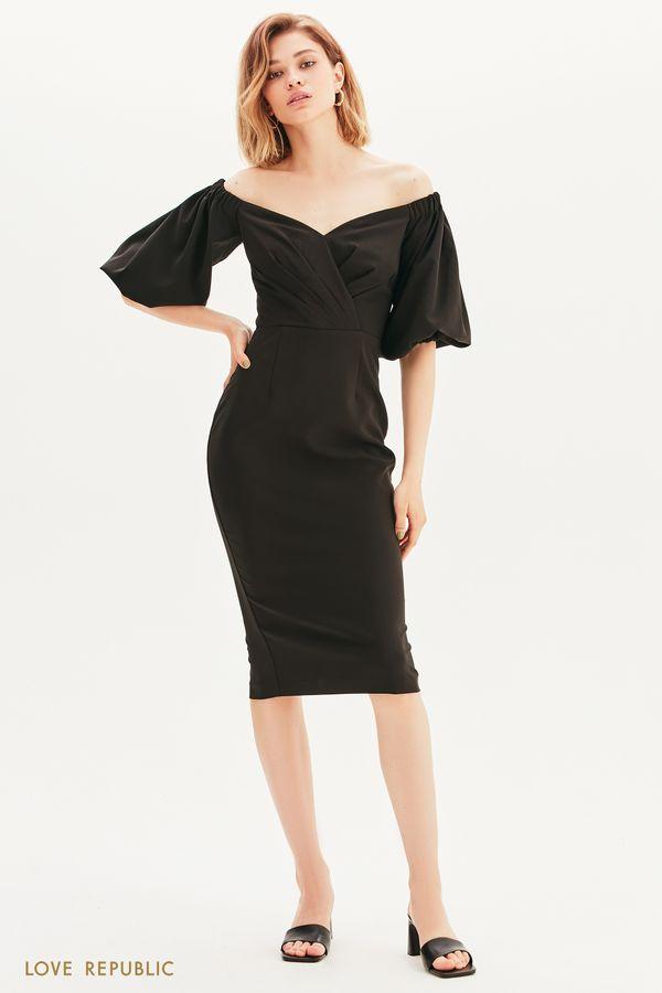 Платье-футляр с пышными рукавами 1357208532-1