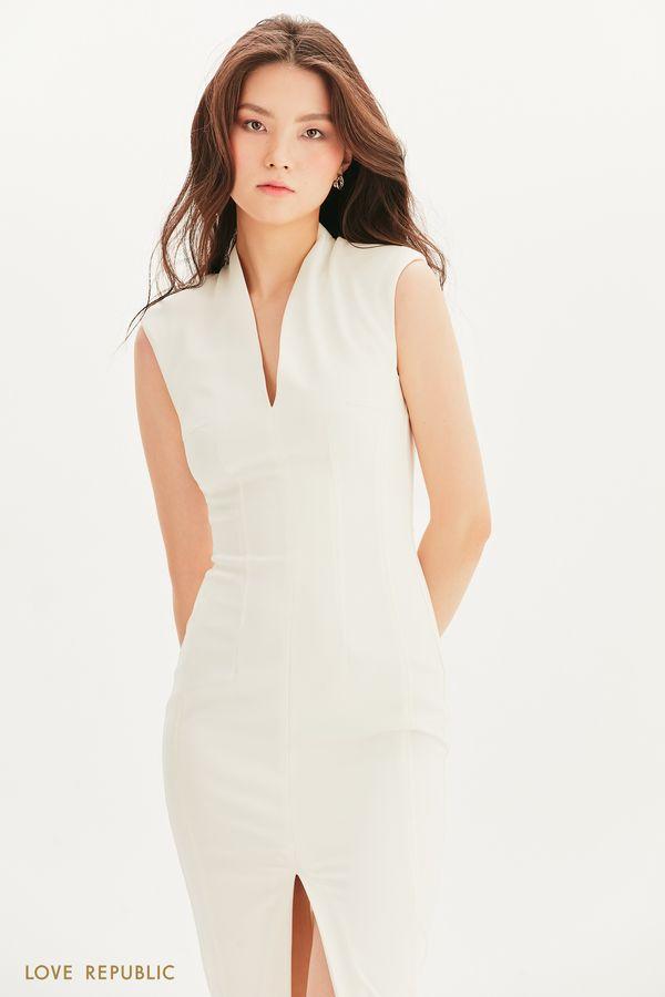 Платье-футляр с подплечниками 1357214522-1