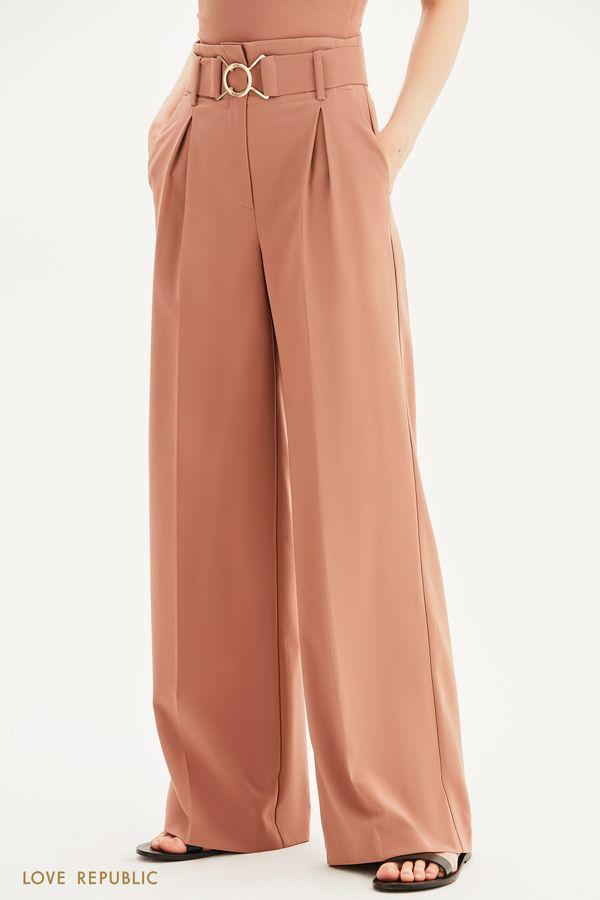 Широкие брюки с поясом-резинкой 1357242735-66
