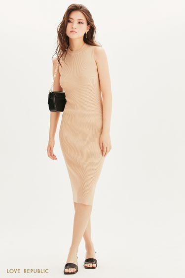 Платье-лапша из трикотажа в рубчик 1357302514