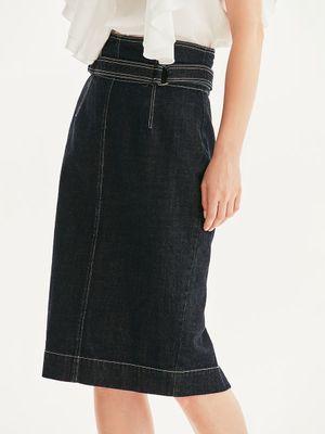 Джинсовая юбка с контрастной строчкой