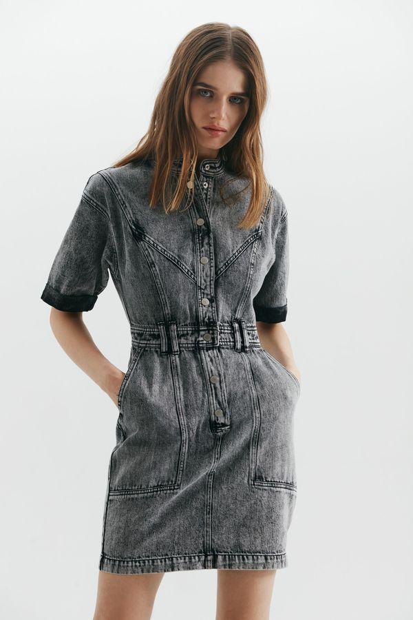 Платье мини из вареного денима 1357428524-107
