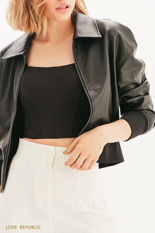 Укороченная куртка из экокожи 1357501101-50