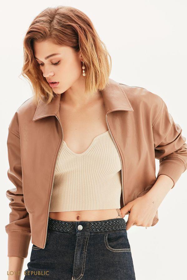 Укороченная куртка из экокожи 1357502101-66