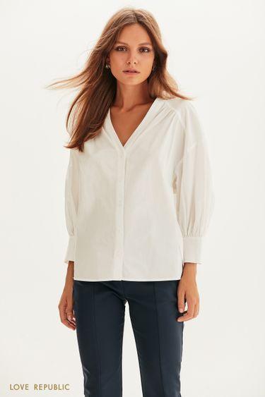 Хлопковая блузка с рукавами-буфами 1358005312