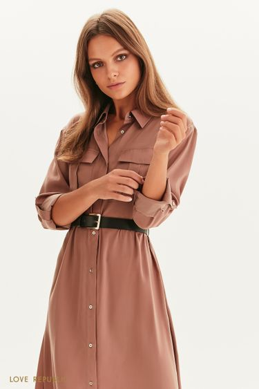 Платье-рубашка с поясом 1358007504