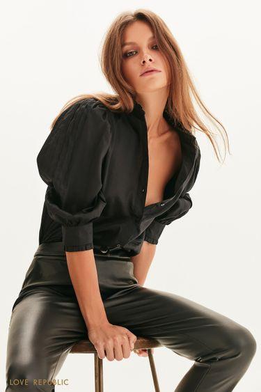 Хлопковая блузка с оборками 1358014332