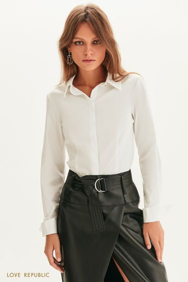 Приталенная рубашка с длинным рукавом 1358018310