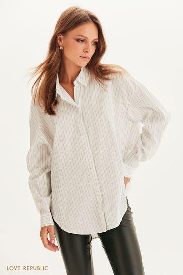 Oversize рубашка в полоску 1358019333