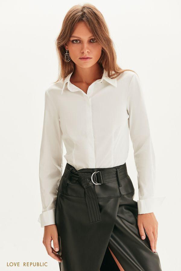 Приталенная рубашка с длинным рукавом 1358018310-1