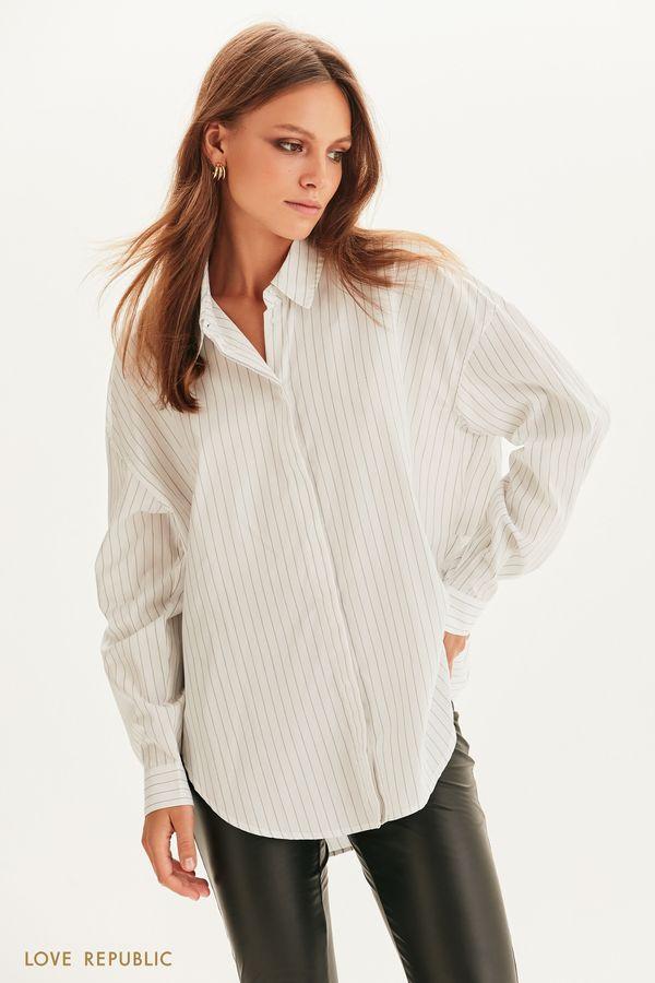 Oversize рубашка в полоску 1358019333-5