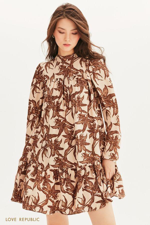 Ярусное платье мини 1358021503-65