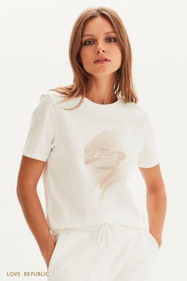 Хлопковая футболка с матовым принтом 1358114320