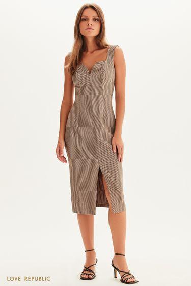 Платье-футляр с принтом гусиная лапка 1358237523