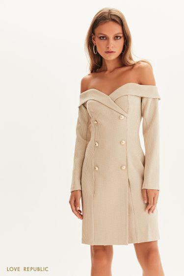 Двубортное платье-пиджак с открытыми плечами 1358244525