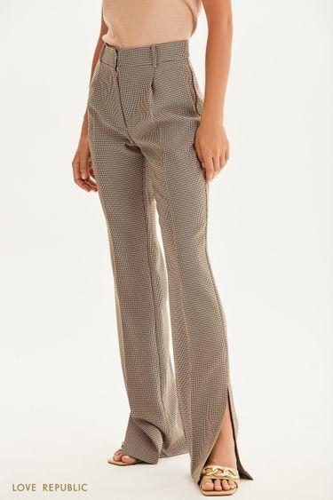 Прямые брюки с принтом гусиная лапка 1358244731