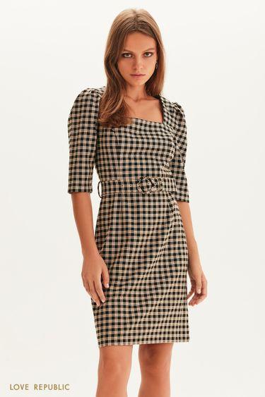 Платье мини с поясом 1358250517