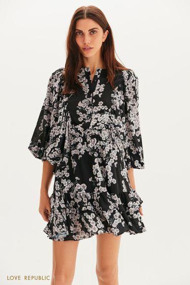 Цветочное платье мини с пышными рукавами 1358257532