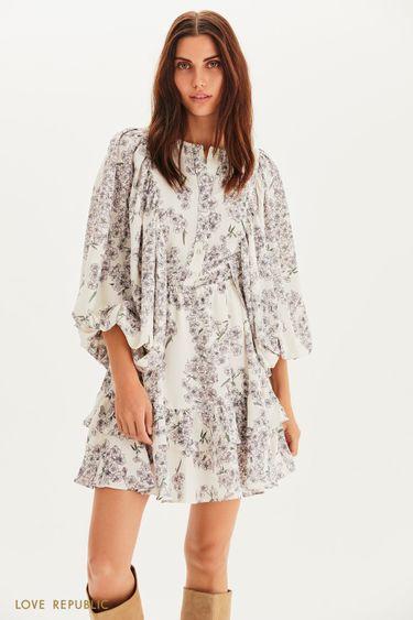Цветочное платье мини с пышными рукавами 1358258532