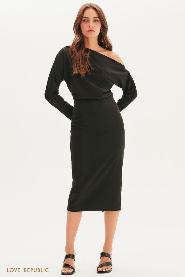 Платье с кроем на одно плечо 1358213511-50
