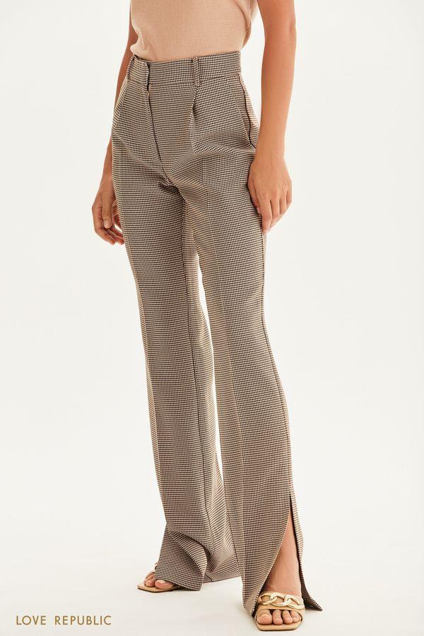 Прямые брюки с принтом гусиная лапка 1358244731-26
