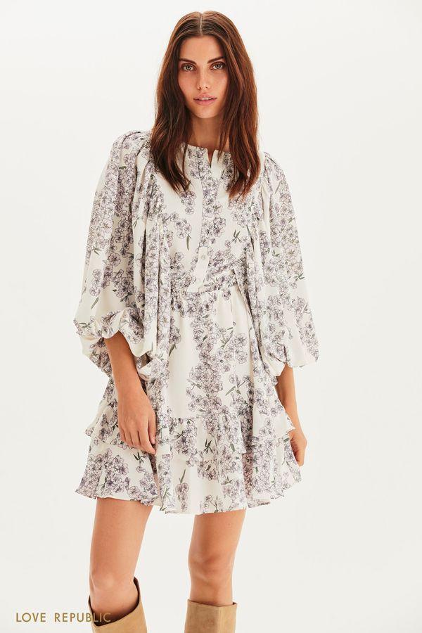 Цветочное платье мини с пышными рукавами 1358258532-42
