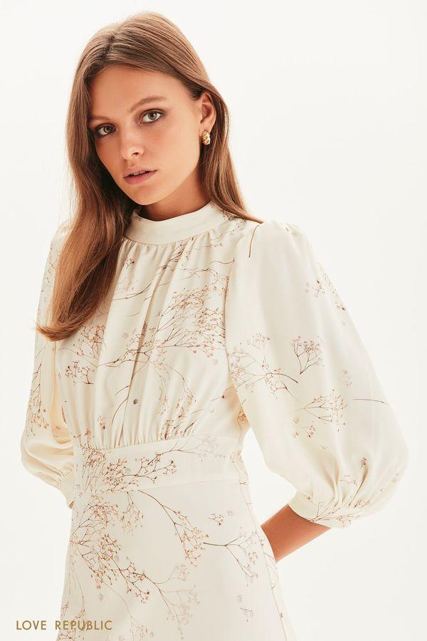 Платье миди с цветочным принтом 1358264539-60