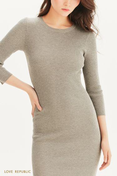 Платье миди из трикотажа в рубчик 1358311501